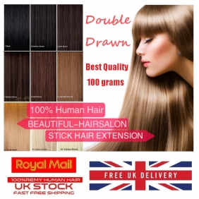 "UK Stock 28 Colors Double Drawn 100S 16""-24"" Stick tip hair 1g/s human hair extensions"