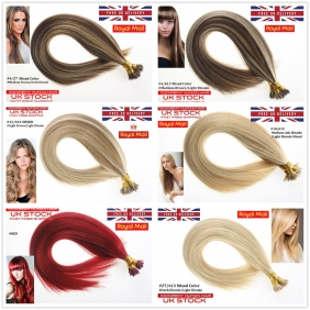 "UK Stock Mixed Color Double Drawn 100S 16""-24"" Stick tip hair 1g/s human hair extensions"