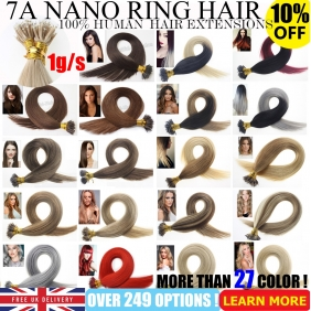 "UK Stock 28 Colors Double Drawn 100S 16""-24"" Nano hair 1g/s human hair extensions"