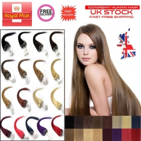 "UK Stock 29 Color 100S 14""-26"" Micro rings/loop hair remy human hair extensions"